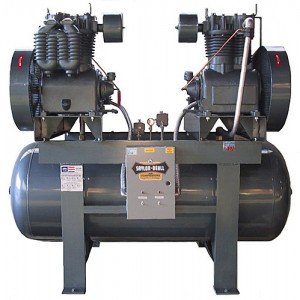 industrial duplex air compressors, electric two stage saylor beall saylor-beall compressor parts 15, 200, duplex_with_steel_structure